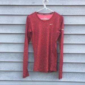 Nike Miler Red Speckled Long Sleeve Dry-Fit